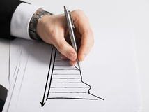 Close up of male hand with pen drawing graph Stock Image