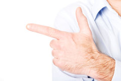 Close up on male hand pointing to the left Stock Photo