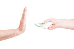 Close-up of male hand refusing money Royalty Free Stock Image