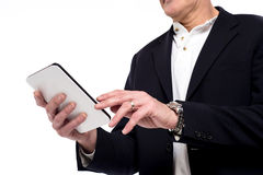 Close up of male hand using tablet Royalty Free Stock Images