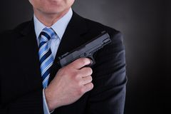 Close-up Of Male With Handgun Stock Photography
