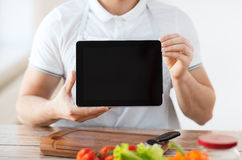 Close up of male hands holding tablet pc Stock Photos