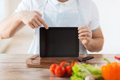 Close up of male hands holding tablet pc Royalty Free Stock Images