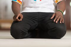 Close-Up Of Male Hands Praying royalty free stock photo