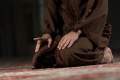 Close-Up Of Male Hands Praying In Mosque Stock Photography