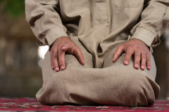 Close-Up Of Male Hands Praying In Mosque Royalty Free Stock Image