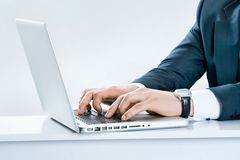 Close-up of male hands typing Royalty Free Stock Photo