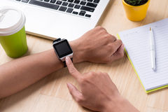 Close up of a male hands using a modern smart watch. Stock Photo