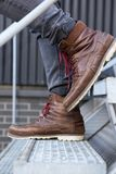 Close up male leather boots Royalty Free Stock Photography