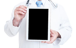 Close-up of male medic holding tablet with black screen Royalty Free Stock Images