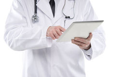 Close up male medical doctor using digital tablet pc. Royalty Free Stock Images
