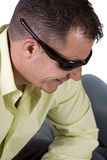 Close up of male model with  sunglasses Royalty Free Stock Photos