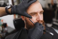 The man barber serves the client in the salon royalty free stock photo