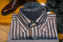 Close up of male shirt. Close up of striped male shirt and necktie Royalty Free Stock Images