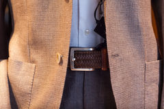 Close up of male suit. Exposed in the clothes shop Royalty Free Stock Images