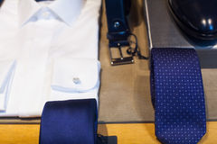 Close up of male suit. Exposed in the clothes shop Royalty Free Stock Image