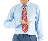 Male wearing blue shirt reaching hand out with clipping path Royalty Free Stock Image