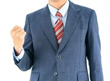 Male wearing blue in suit reaching hand out with clipping path. Close up, Male wearing blue in suit and red tie reaching hand out isolated with clipping path stock photo