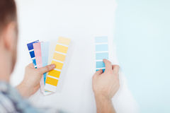 Close up of male wit color pallets Royalty Free Stock Images