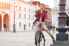 Close-up of man on a bicycle Stock Photography