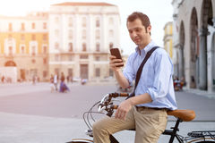 Close-up of man on a bicycle Stock Images
