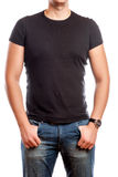 Close up of man in blank t-shirt Royalty Free Stock Image