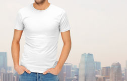 Close up of man in blank white t-shirt Stock Images