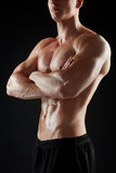 Close up of man or bodybuilder with bare torso Stock Photos