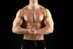 Close up of man or bodybuilder with bare torso Stock Images