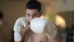 Close up of man boxing stock video