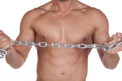 Close up of a man with chain Royalty Free Stock Image