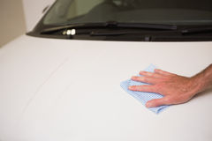 Close up of man cleaning his car Royalty Free Stock Image