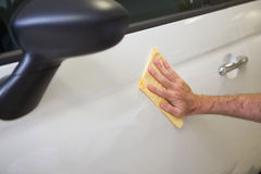 Close up of man cleaning his car Royalty Free Stock Photography