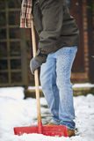 Close Up Of Man Clearing Snow From Path Stock Image