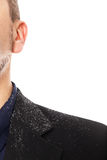Close up from a man with a dandruff problem Royalty Free Stock Image