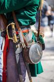 Close up of man dressed up as soldier for the anniversary of the Battle of the Alamo stock photography