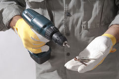 Close-up of a man with drill Royalty Free Stock Images