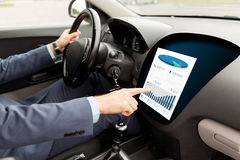 Close up of man driving car with chart on screen Stock Images
