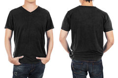 Close up of man in front and back black shirt on white backgroun. D Stock Photos
