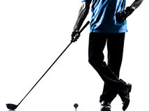 Close up man golfer golfing silhouette. One man golfer golfing in silhouette studio isolated on white background royalty free stock photo