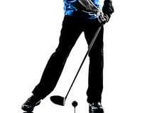 Close up man golfer golfing silhouette. One man golfer golfing in silhouette studio isolated on white background stock photography