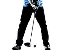 Close up man golfer golfing  silhouette Royalty Free Stock Photos
