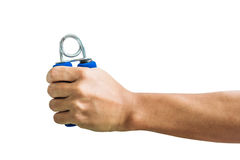 Close-up a man hand exercise by using hand gripper, isolated on white background Stock Photos