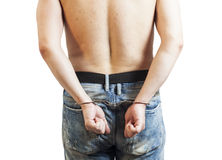 Close up of man in handcuffs arrested Stock Photos