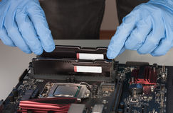 Close up of man hands with gloves installing Ram DDR4 memory mod Royalty Free Stock Photography