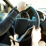 Close-up Of A Man Hands Holding Steering Wheel While Driving Car Royalty Free Stock Images