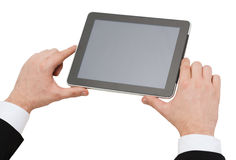 Close up of man hands holding tablet pc Royalty Free Stock Photos