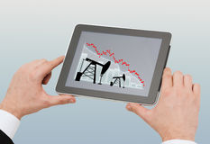 Close up of man hands holding tablet pc Royalty Free Stock Photo