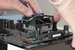 Close up of man hands installing CPU cooler fan on new, modern Royalty Free Stock Images