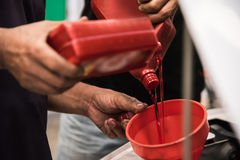 Close up man hands. Mechanic pouring new engine oil to car engin Stock Image